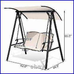 Patio Canopy Swing Outdoor Swing Chair 2-Person Canopy Hammock Beige