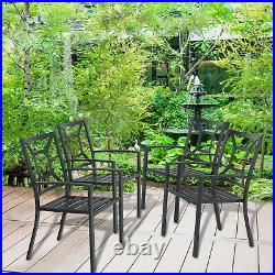 Patio Chair Set of 2 Metal Armrest Chairs Stackable Outdoor Dining Chairs Black
