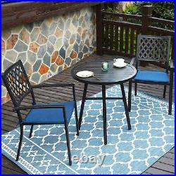 Patio Chair Set of 4 Metal Dining Chairs Waterproof Outdoor Furniture Black
