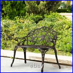 Patio Garden Bench Outdoor Park Bench Cast Aluminum Furniture Loveseat Backyard