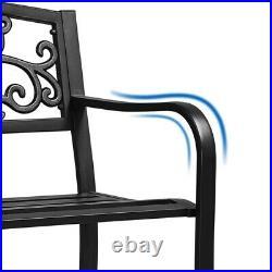 Patio Garden Bench Park Bench Outdoor Furniture Iron Metal Bench Porch, Yard, Deck