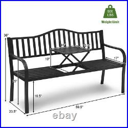 Patio Garden Bench Steel Frame Adjustable Center Table Outdoor Porch Loveseats