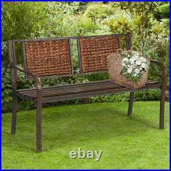 Patio Garden Bench Steel Frame Rattan Backrest Park Yard Outdoor Porch Furniture