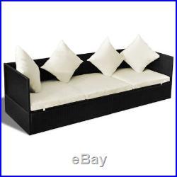 Patio Garden Outdoor Poly Rattan Sun Lounger Day Bed Sofa 3 Cushions 4 Pillow