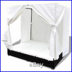 Patio Garden Poly Rattan Outdoor Wicker Sun Lounger Bed 2 Persons Curtain Black