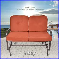 Patio Glider Bench Chair 2 Person Rocker Loveseat Outdoor Furniture WithCushions
