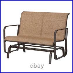 Patio Glider Bench Outdoor Chaise Chair Loveseat 2 Person Garden Furniture Metal