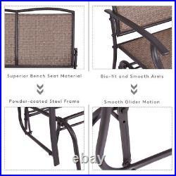 Patio Glider Rocking Bench 2 Person Swing Chair Loveseat Armchair Backyard Brown