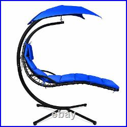 Patio Hammock Swing Chair Hanging Chaise with Cushion Pillow Canopy Navy