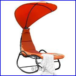 Patio Hanging Chaise Lounge Chair Swing Hammock Canopy Thick Cushion Orange