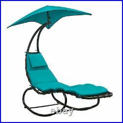 Patio Hanging Chaise Lounge Swing Cushion Seat Hammock With Canopy Sun Shade