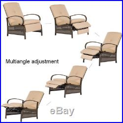 Patio In/Outdoor Adjustable Cushioned Lounge Chair Recliner Furniture withCushions