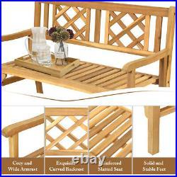 Patio Outdoor Solid Wood Bench Folding Loveseat Chair Park Garden Deck Furniture