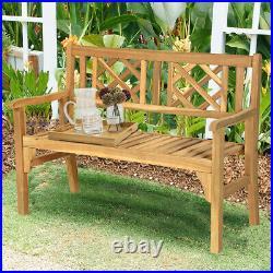 Patio Outdoor Solid Wood Bench Loveseat Chair Park Garden Yard Home Outdoor