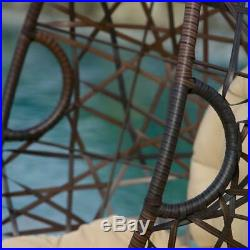 Patio Outdoor Wicker Basket Chair, Hanging Egg Chair Wt Cushion and Stand- Brown
