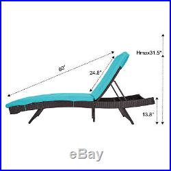 Patio PE Wicker Adjustable Pool Chaise Lounge Chair Outdoor Furniture With Cushion