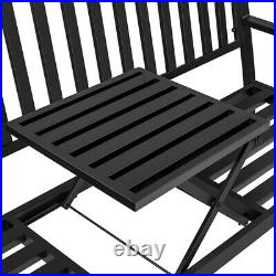 Patio Park Garden Bench Outdoor Metal Bench with Pullout Adjustble Middle Table