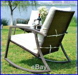 Patio Rattan Furniture Wicker 3 Pcs Rocking Chair Bistro Set Cushioned Outdoors