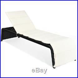 Patio Rattan Lounge Chair Chaise Recliner Back Adjustable Cushioned Garden