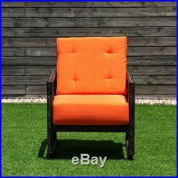 Patio Rattan Rocking Chair Rocker Armchair Outdoor Garden Furniture WithCushions