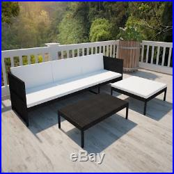 Patio Rattan & Wicker Lounge Set with 3-seater Sofa Garden Furniture Black/Brown