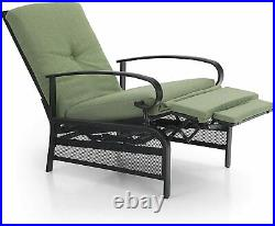 Patio Recliner Adjustable Lounge Chair With Cushion Sofa Chair Outdoor Chaise