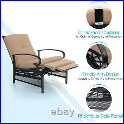 Patio Recliner Adjustable Sofa Chair Lounge Chair With Cushion Outdoor Furniture
