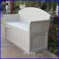 Patio Storage Bench Outdoor Seat Furniture Plastic Deck Box Pool Seating Store