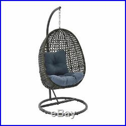 Patio Wicker Hanging Chair Stand Porch Swing Outdoor Furniture Blue Cushion
