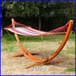 Patio Wood Arc Stand Hammock Swing With Stripe Colorful Cotton Fabric Sling Bed