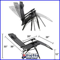 Patio Zero Gravity Chairs Recliner Outdoor Lounge Beach Texteline Black Steel X2