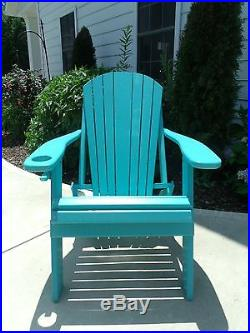Poly Lumber Wood Folding Adirondack Chair with Cup Holder Aruba Blue