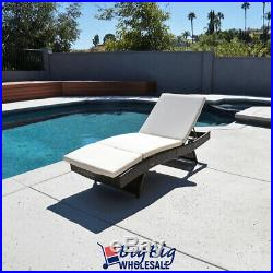 Pool Rattan Chaise Lounge Chair Outdoor Patio Sun Bed Porch Furniture withCushion