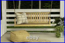 Porch Swing Bench Natural Wood 5 ft Hanging Outdoor Garden Patio Bench with Chains