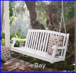 Porch Swing Bench White Wood Slat Outdoor Seat Country Chain Backyard 2 Person