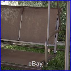 Porch Swing Glider Outdoor Chair Tilt UV Resistant 3 Seater Sunshade Dark Brown