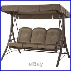 Porch Swing Patio Furniture Garden Backyard Outdoor Steel Wentworth 3-Person