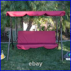 Porch Swing Soft Cushioned Sunlight Protection 3 Seat Polyester Bench Burgundy