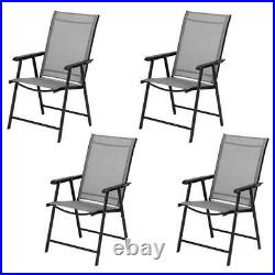 Portable Patio Folding Teslin Dining Chair Set Of 4 Outdoor Wedding Chairs Gray