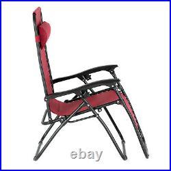 Portable Zero Gravity Recline Lounge Chairs & Table Set Chair Beach Patio Chair
