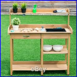 Potting Table Bench Outdoor Indoor Work Station Garden Planting Wood Shelves