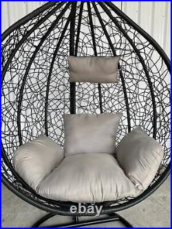 Rattan Swing Egg Chair Hanging Garden Patio with Stand Cushion