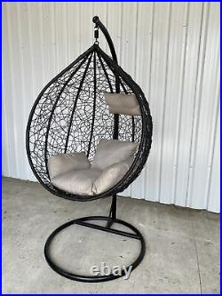 Rattan Swing Egg Chair Hanging Garden Patio with Stand Cushion #1