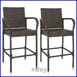 Rattan Wicker 2PCS Bar Stool Patio Furniture Chair with Armrest Outdoor Backyard