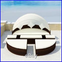 Rattan Wicker Daybed Garden Furniture Outdoor Patio Sofa Sun Bed Lounger Round