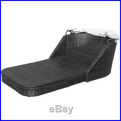 Rattan Wicker Sun Lounger Double Seater Canopy Roof Daybed Patio Furniture Black