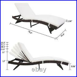 Ratton Cotton Outdoor Adjustable Chaise Lounge Chair Recliner Cushion Brown US