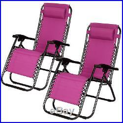 Reclining 2PCS Folding Zero Gravity Beach Chairs Lounge Portable Outdoor Purple