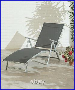 Reclining 6 Position Garden Foldable Metal Sun Lounger Folding Outdoor, Black