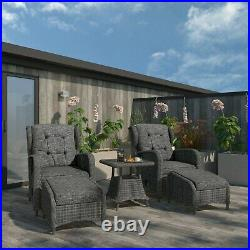 Reclining Rattan Sun Lounger Set with Table and Footstools Dark Grey